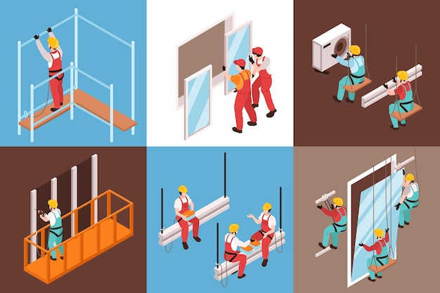 Isometric characters of utility men hats installing various objects illustration