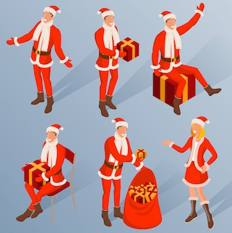 Isometric characters of young santa.