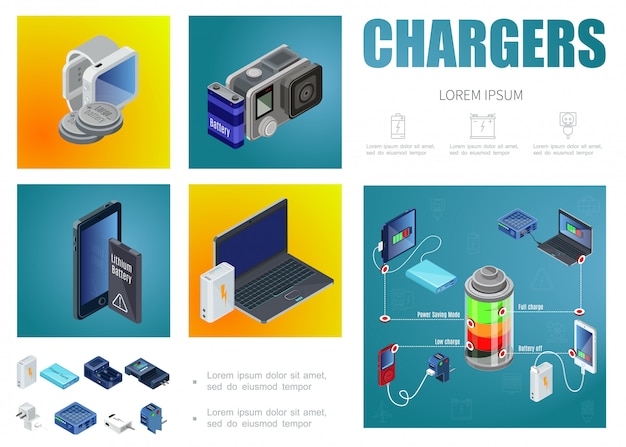 Isometric chargers template with power bank modern sources of charging plugs batteries for smartwatches camera mobile laptop