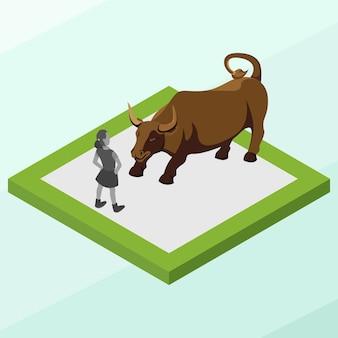 Isometric charging bull statue