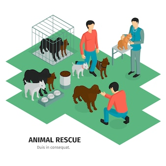 Isometric charity composition with human characters of people guardians and domestic animals pets with editable text vector illustration