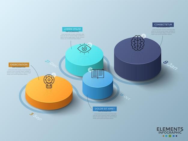 Изометрическая диаграмма с 4 красочными цилиндрическими элементами или столбцами, тонкими линиями, датами и местом для текста. концепция временной шкалы с четырьмя шагами. макет дизайна инфографики. векторная иллюстрация.