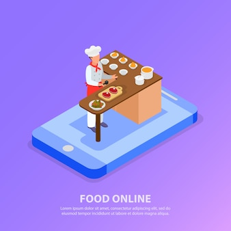 Isometric chef cooking italian food and phone concept 3d vector illustration