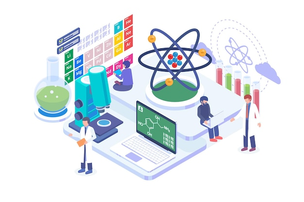 Isometric chemical science vector concept
