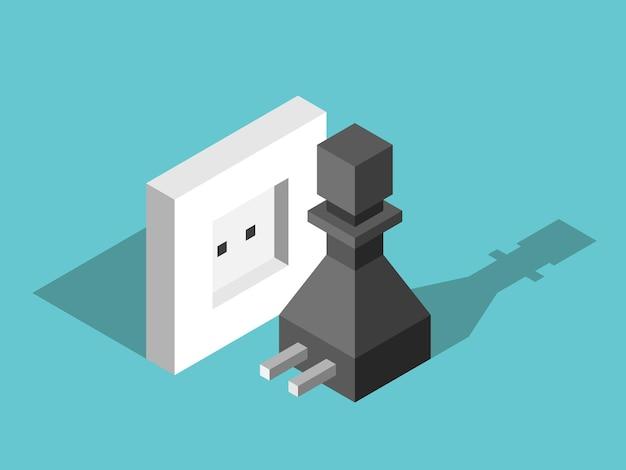 壁のコンセントの近くに電気プラグが付いた等尺性のチェスのポーンエネルギー源のインスピレーションの動機