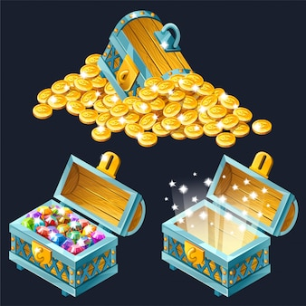 Isometric chests with treasures