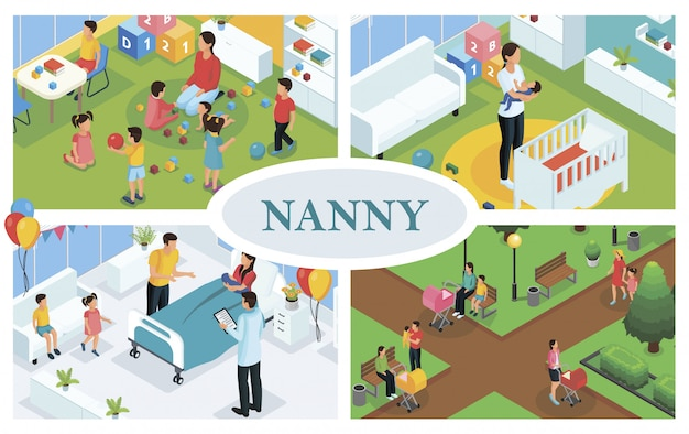 Isometric children care composition with nanny playing and walking with kids babysitter puts baby to sleep and father congratulates mother with childbirth
