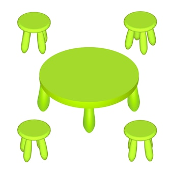 Isometric children play room interior furniture - table and chairs. vector illustration eps 10 isolated on white background.