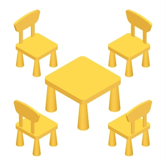 Isometric children play room interior furniture - table and chairs. vector illustration eps 10 isolated on white background