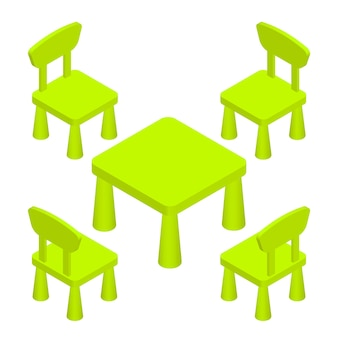 Isometric children play room interior furniture - table and chairs. vector illustration