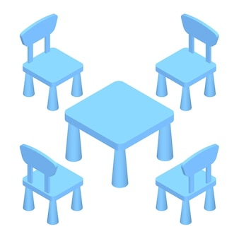 Isometric children play room interior furniture - table and chairs.