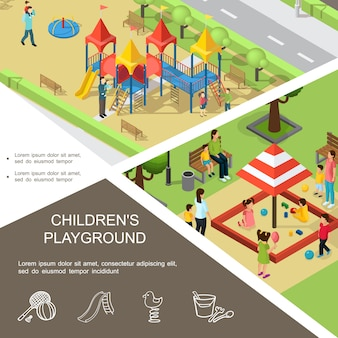 Isometric children playground composition with kids playing in sandbox and on slides parents tennis racket spring toy bucket rake icons