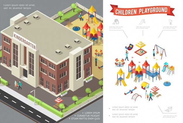 幼稚園の建物のスライドと等尺性の子供の遊び場構成スイングサンドボックスプレイハウスサンドボックスの子供と親