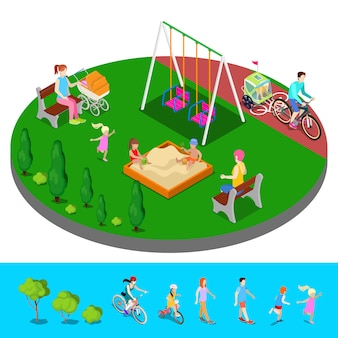 Isometric children playground in the park with people, sweengs and sandbox.
