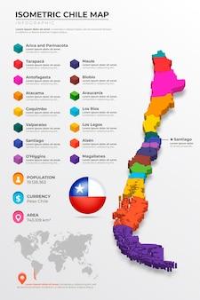 Cile mappa isometrica infografica