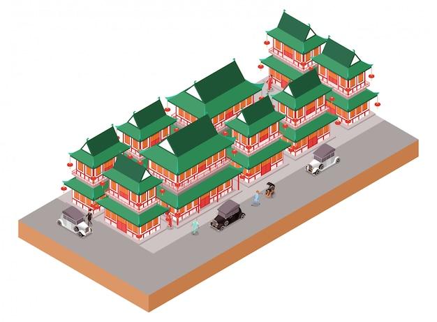 오래 된 도시에서 아이소 메트릭 중국 전통 집 건물 프리미엄 벡터