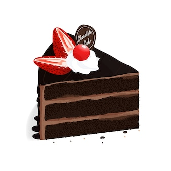 Isometric chocolate cake strawberry vector