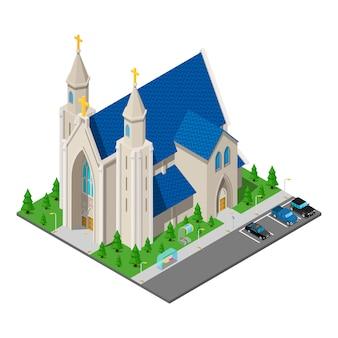 Isometric christian catholic church building.
