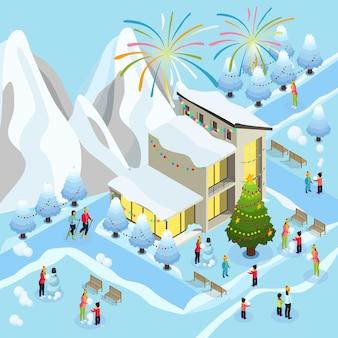 Изометрическая концепция празднования рождества с фейерверком, зимние виды спорта, семейные дети, лепящие снеговика возле украшенного дерева и дома