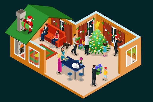 Isometric christmas holiday concept with people celebrating new year in house and santa claus with gifts on roof isolated