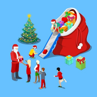 Isometric christmas illustration. santa claus giving presents to the children.   3d flat illustration