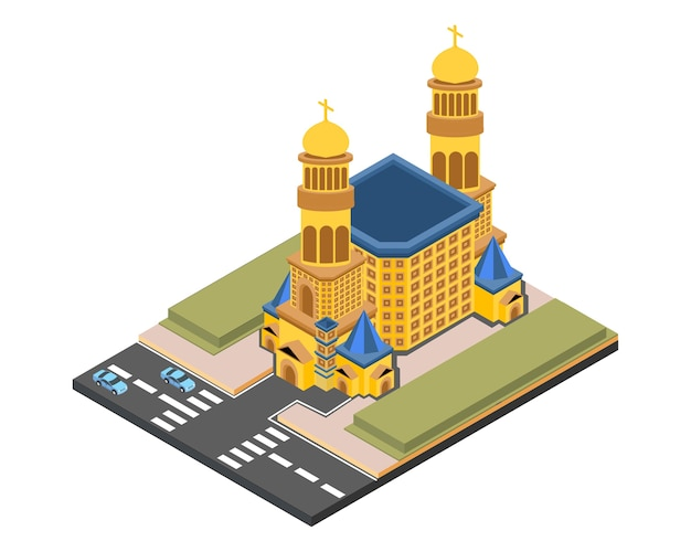 Isometric church gold, vector illustration