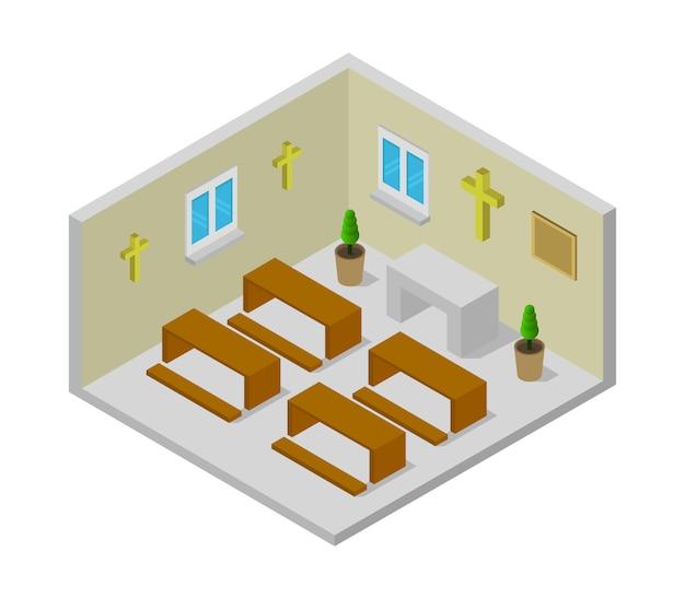 Isometric church room