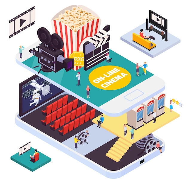 スマートフォンの形をしたプラットフォームと家具のスクリーンと人々のイラストを備えた映画館の内部を備えた等尺性の映画館の構成