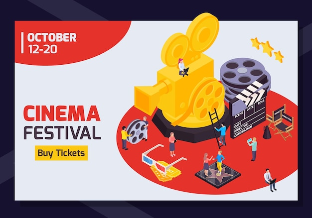 Isometric cinema festival horizontal banner with editable date text buy tickets button and golden camera  banner
