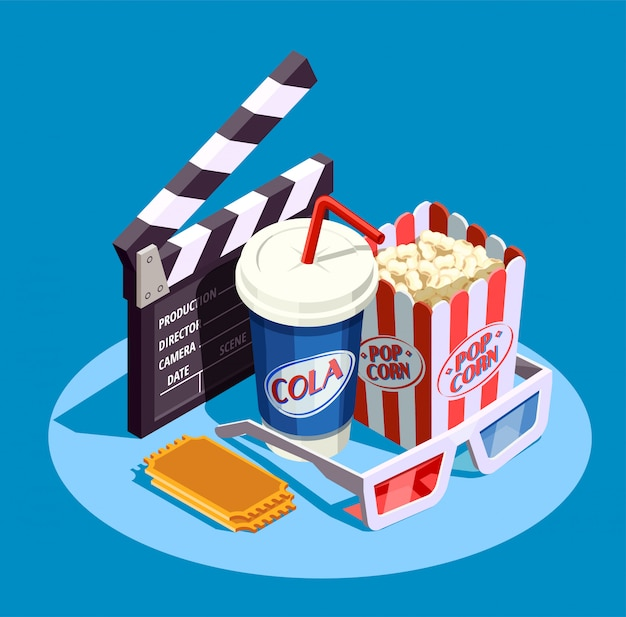 Isometric cinema icon set