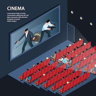관객석과 편집 가능한 텍스트가 있는 영화관 플렉스의 실내 전망이 있는 아이소메트릭 시네마 일러스트레이션
