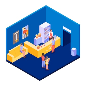 Isometric cinema lobby illustration