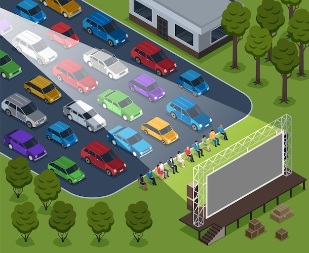 Isometric cinema outdoor composition with open air scenery rows of cars and sitting people with screen illustration