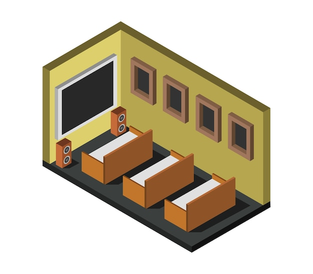 Isometric cinema room