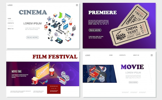 Isometric cinema websites set with movie cameras hromakey filmstrip director chair megaphone clapperboard projectors film reel tickets soda popcorn