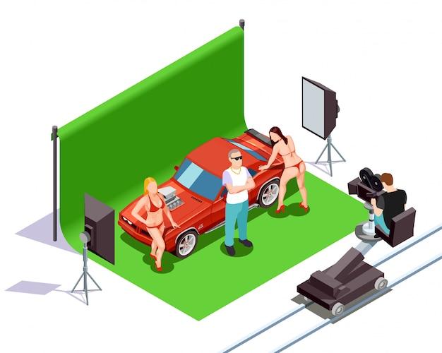 Изометрическая иллюстрация кинематографа