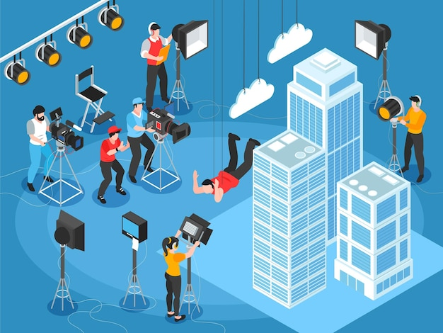 Composizione cinematografica isometrica di scenografie cinematografiche con grattacieli e personaggi di luci e operatori di macchina fotografica