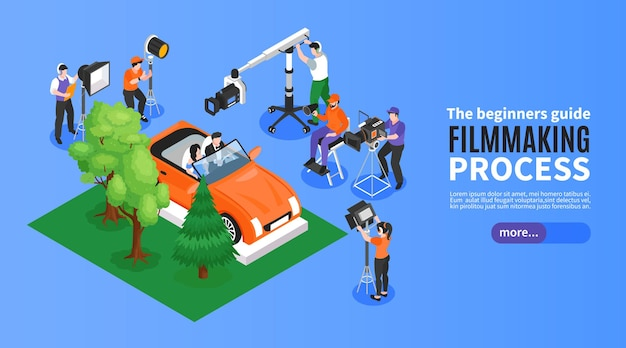 Isometric cinematography horizontal banner with film set elements shooting crew and editable text with more button