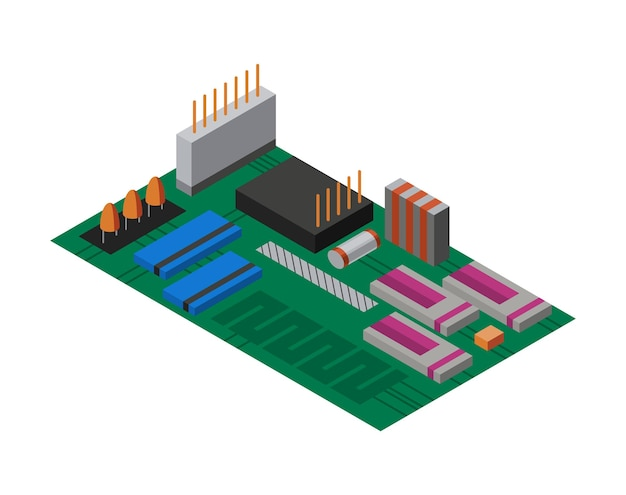 전자 부품이 있는 아이소메트릭 회로 기판. 컴퓨터 칩 기술 프로세서 회로 및 컴퓨터 마더보드 정보 시스템. 전자 3d 격리 구성