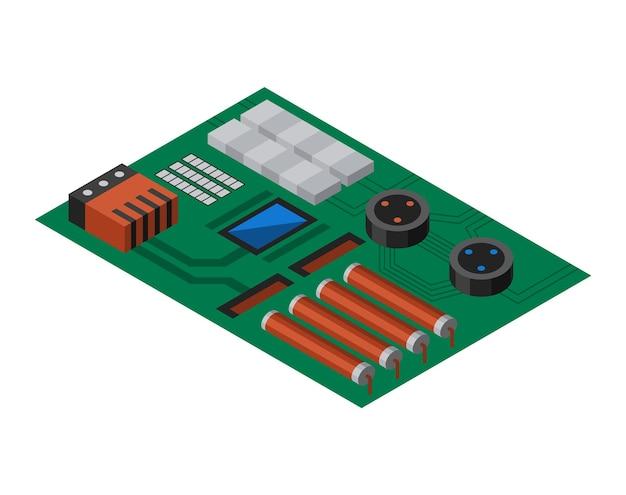 전자 부품이 있는 아이소메트릭 회로 기판. 컴퓨터 칩 기술 프로세서 회로 및 컴퓨터 마더보드 정보 시스템. 기술 장비 장치 개념