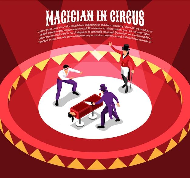 Изометрическая цирковая композиция с персонажами конферансье, исполняющими фокусы на круговой арене с редактируемым текстом