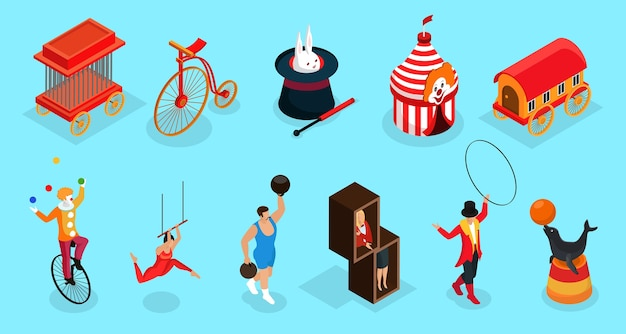 Isometric circus elements collection with cage bicycle trained animals tricks marquee trailer clown acrobat trainer illusionist isolated
