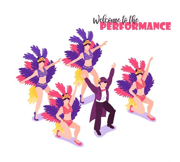 Артисты изометрического цирка показывают композицию человеческих персонажей с артистами разноцветных перьев и редактируемой текстовой векторной иллюстрацией