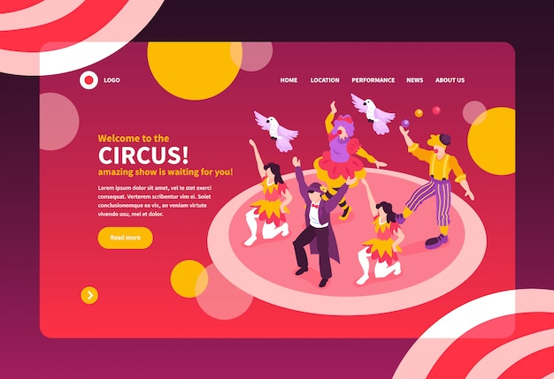 Isometric circus performers show concept web site landing page design with text and images vector illustration