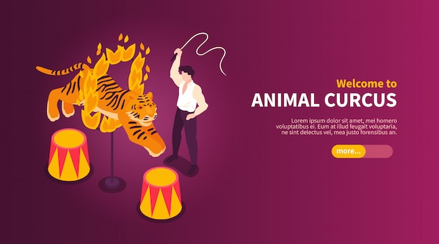 Isometric circus performers show horizontal banner with images of wild animal tamer and tiger with text vector illustration