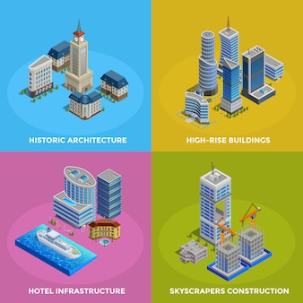 Isometric city 2x2 icons set