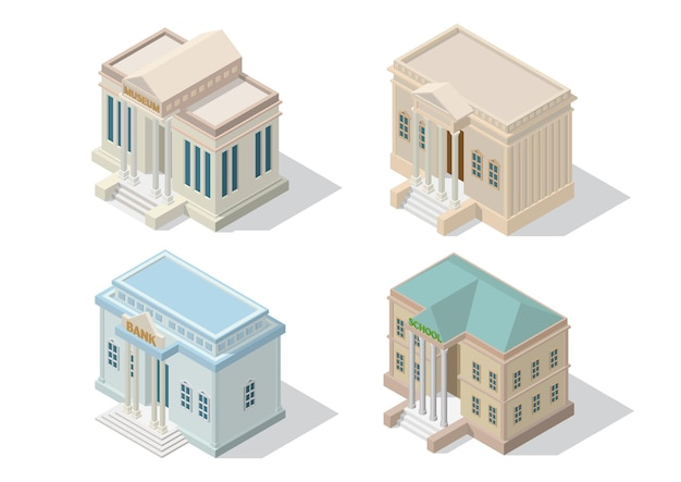 Isometric city architecture public building. museum court bank and school building isolated