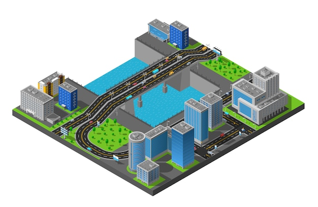 Isometric city bridge illustration