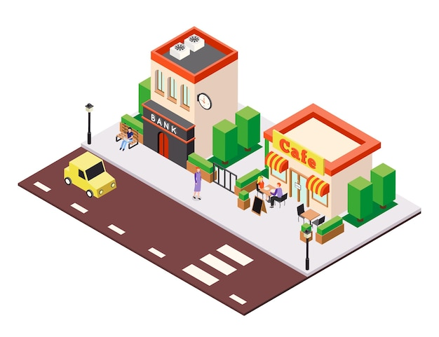 Isometric city buildings illustration composition with view of street cafe and bank houses with people characters
