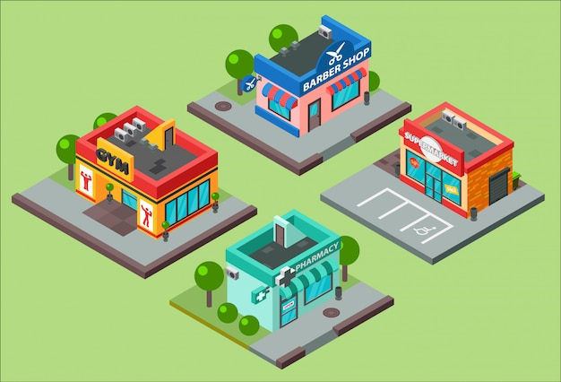 Isometric city buildings kiosk convenience store supermarket. barbershop, pharmacy, beauty salon, fitness gym and shop supermarket mall center urban business isometric construction illustration